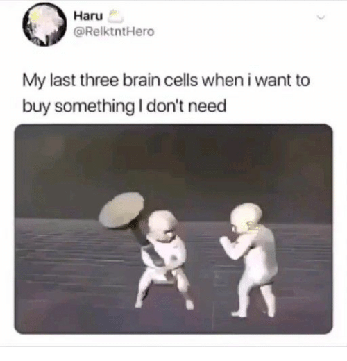 Brain, Three, and Brain Cells: Haru  @RelktntHero  My last three brain cells when i want to  buy something I don't need
