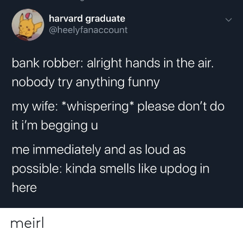 Harvard: harvard graduate  @heelyfanaccount  bank robber: alright hands in the air.  nobody try anything funny  my wife: *whispering* please don't do  it i'm begging u  me immediately and as loud as  possible: kinda smells like updog in  here meirl