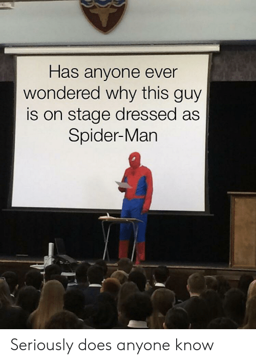 Has Anyone: Has anyone ever  wondered why this guy  is on stage dressed as  Spider-Man Seriously does anyone know