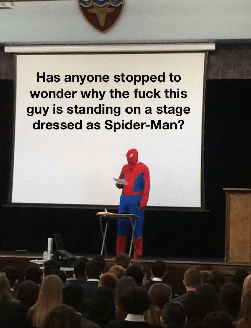 Has Anyone: Has anyone stopped to  wonder why the fuck this  guy is standing on a  stage  dressed as Spider-Man?