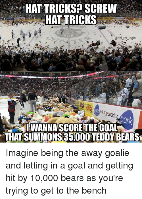 Getting Hit: HAT TRICKS? SCREW  HAT TRICKS  HERSH  MATE  nhl ref logic  25  ptur (ookin  0r  IWANNA SCORE THEGOAL  THAT SUMMONS 35000 TEDDY BEARS Imagine being the away goalie and letting in a goal and getting hit by 10,000 bears as you're trying to get to the bench