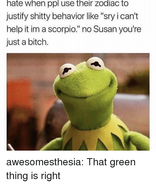 """Bitch, Tumblr, and Blog: hate when ppl use their zodiac to  justify shitty behavior like """"sry i can't  help it im a scorpio."""" no Susan you're  just a bitch. awesomesthesia:  That green thing is right"""