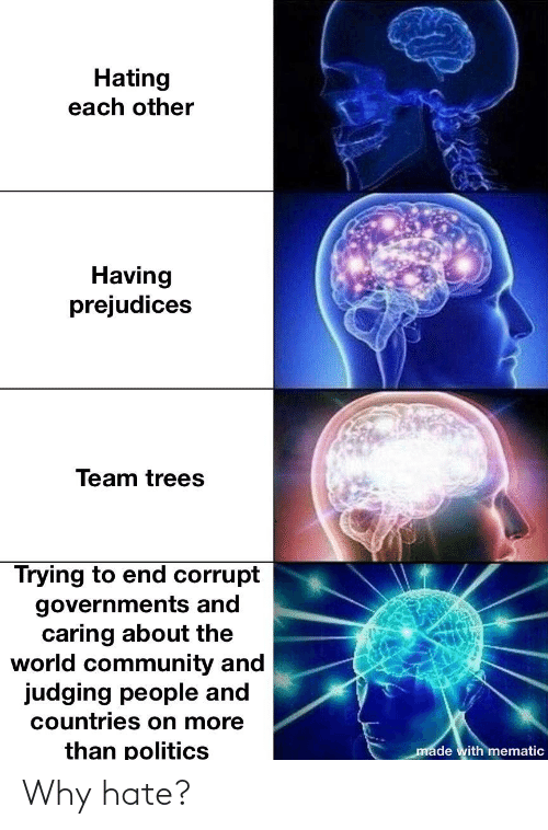 Corrupt: Hating  each other  Having  prejudices  Team trees  Trying to end corrupt  governments and  caring about the  world community and  judging people and  countries on more  than politics  made with mematic Why hate?
