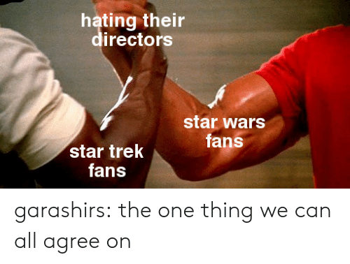 Star Trek, Star Wars, and Tumblr: hating their  rectors  star wars  fans  star trek  fans garashirs:  the one thing we can all agree on