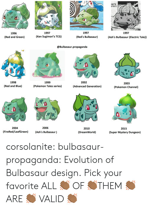mystery dungeon: HATS  PIRIT!  1997  1997  1997  1996  (Red and Green)  (Ken Sugimori's TCG)  (Red's Bulbasaur)  (Ash's Bulbasaur (Electric Tale))  @Bulbasaur.propaganda  1998  (Red and Blue)  1999  (Pokemon Tales series)  2002  2003  (Pokemon Channel)  (Advanced Generation)  2004  2006  2010  (DreamWorld)  2015  (FireRed/LeafGreen) (Ash's Bulbasaur)  (Super Mystery Dungeon) corsolanite:  bulbasaur-propaganda:   Evolution of Bulbasaur design. Pick your favorite   ALL 👏🏾 OF 👏🏾THEM 👏🏾 ARE 👏🏾 VALID 👏🏾