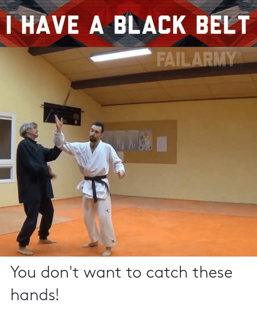 Memes, Black, and 🤖: HAVE A BLACK BELT  FAILARMY You don't want to catch these hands!