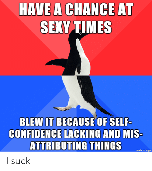 I Suck: HAVE A CHANCE AT  SEXY TIMES  BLEWIT BECAUSE OF SELF-  CONFIDENCE LACKING AND  MIS  ATTRIBUTING THINGS  made on imgur I suck