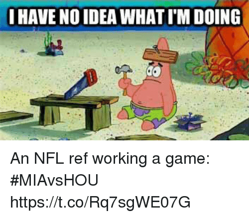 Nfl, Sports, and Game: HAVE NO IDEA WHAT I'M DOING An NFL ref working a game: #MIAvsHOU https://t.co/Rq7sgWE07G