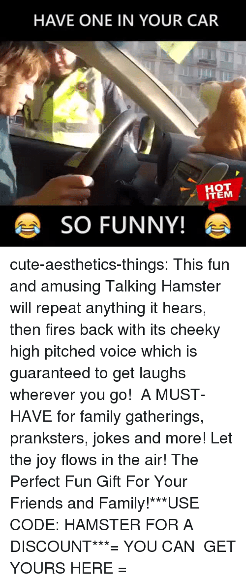 cheeky: HAVE ONE IN YOUR CAR  ITEM  SO FUNNY! cute-aesthetics-things:  This fun and amusing Talking Hamster will repeat anything it hears, then fires back with its cheeky high pitched voice which is guaranteed to get laughs wherever you go! A MUST-HAVE for family gatherings, pranksters, jokes and more! Let the joy flows in the air! The Perfect Fun Gift For Your Friends and Family!***USE CODE: HAMSTER FOR A DISCOUNT***= YOU CAN GET YOURS HERE =