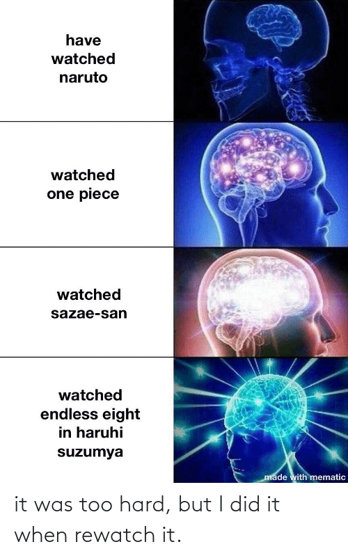 Anime, Naruto, and One Piece: have  watched  naruto  watched  one piece  watched  sazae-san  watched  endless eight  in haruhi  suzumya  made with mematic it was too hard, but I did it when rewatch it.