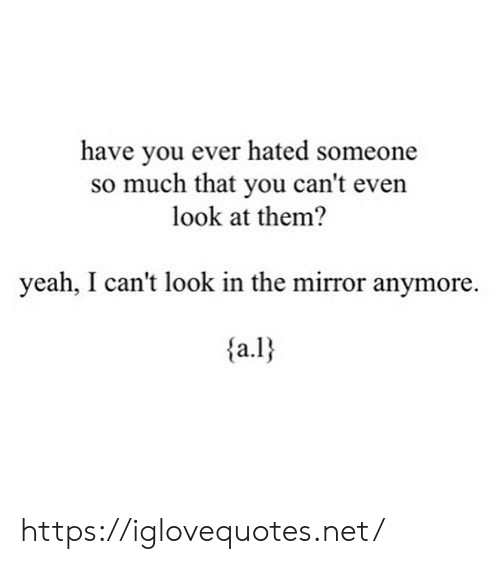 Look In The Mirror: have you ever hated someone  so much that you can't even  look at them?  yeah, I can't look in the mirror anymore  a.l https://iglovequotes.net/