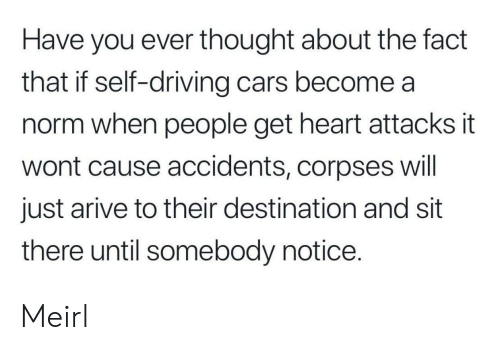 corpses: Have you ever thought about the fact  that if self-driving cars become a  norm when people get heart attacks it  wont cause accidents, corpses will  just arive to their destination and sit  there until somebody notice. Meirl