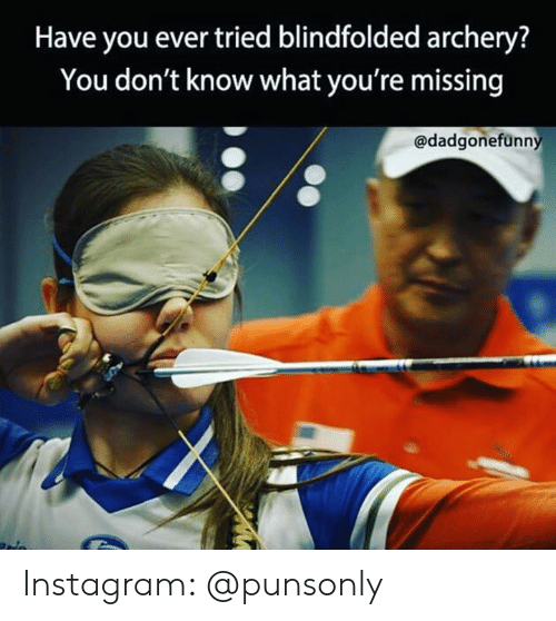 archery: Have you ever tried blindfolded archery?  You don't know what you're missing  @dadgonefünn Instagram: @punsonly