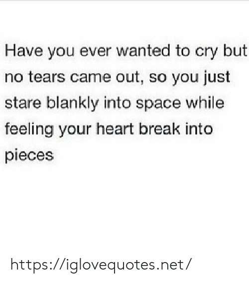 Break, Heart, and Space: Have you ever wanted to cry but  no tears came out, so you just  stare blankly into space while  feeling your heart break into  pieces https://iglovequotes.net/