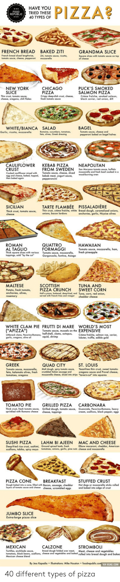 """Pizza Slice: HAVE YOU  PIZZA?  FOOD  REPUBLIC  TRIED THESE  40 TYPES OF  FRENCH BREAD BAKED ZITI  GRANDMA SLICE  French bread sliced lengthwise,  tomato souce, cheese, pepperoni  Ziti, tomato sauce, ricota,  mozzarella  Square slices with tomato souce on top  of cheese  NEW YORK  SLICE  CHICAGO  PIZZA  Crispy deep-dish crust, cheese,  PUCK'S SMOKED  SALMON PIZZA  Crème fraiche, smoked salmon,  black caviar, red onion, dill  Thin crust, tomato sauce,  cheese, oregano, chili flokes  fresh tomato sauce  WHITE/BIANCA  Garlic, ricotta, mozzarello  BAGEL  Tomato sauce, cheese and  pepperoni boked on bagel halves  SALAD  Romaine, cucumbers, tomatoes,  feta, olives, Greek dressing  CAULIFLOWER KEBAB PIZZA  CRUST  NEAPOLITAN  San Marzano tomato sauce, buffalo  mozzarelle and fresh basil cooked in a  FROM SWEDEN  Tomato souce, cheese, sliced  kebab meat, yogurt sauce,  pepperoncini  Cooked cauliflower mixed with  egg and cheese, baked, topped,  then baked again  wood-burning oven  TARTE FLAMBE PISSALADIERE  Thin crust, crème fraiche, white Bread dough, caramelized onions,  onions, bocon lardons  SICILIAN  Thick crust, tomato sauce,  cheese  anchovies, garlic, Niçoise olives  ROMAN  QUATTRO  FORMAGGI  Tomato sauce, mozzarella,  Gorgonzola, fontina, Asiago  HAWAIIAN  AL TAGLIO  Thick square slices with various  toppings, sold """"by the cul""""  Tomato sauce, mozzarella, ham,  fresh pineapple  MALTESE  SCOTTISH  PIZZA CRUNCH  Half a pizzo, battered, deep-fried, and Tuna, corn, red onion,  served with French fries and vinegar cheddar cheese  TUNA AND  SWEET CORN  Potato, fresh tomato,  anchovies, olives,  rosemary  WHITE CLAM PIE FRUTTI DI MARE WORLD'S MOST  (""""APIZZA"""")  Tomato souce, mussels on the EXPENSIVE  Limleneck clams, Pecorino-Romane, half-shell, clams, octopus,  garlic, oregane, olive oil  Crème fraiche, salmon roe, caviar,  lobster, truffle, edible gold  squid, shrimp  GREEK  QUAD CITY  Malt dough, spicy tomato sauce,  crumbled Italian sausage and  mozzarella cheese, sliced """