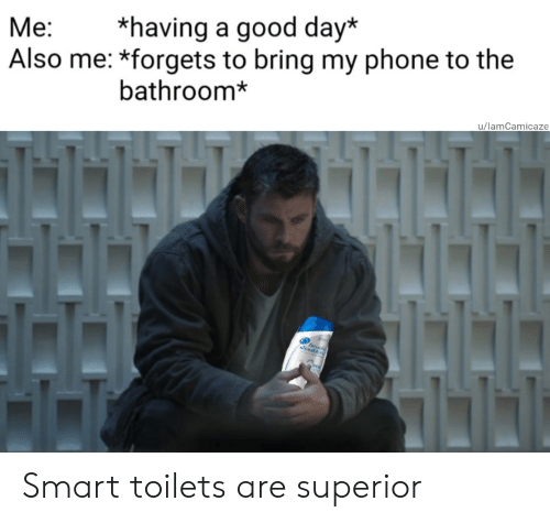 Phone, Good, and Superior: *having a good day*  Also me: *forgets to bring my phone to the  Ме:  bathroom*  u/lamCamicaze Smart toilets are superior