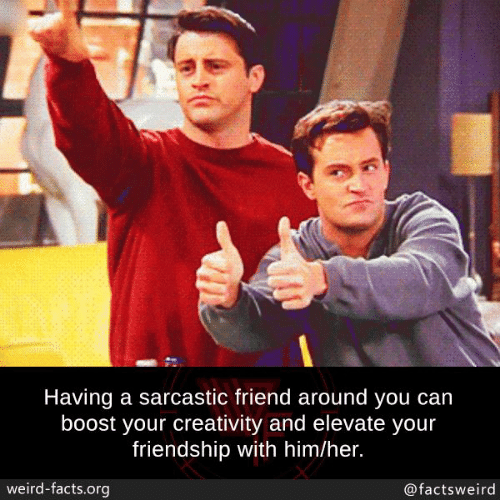 elevate: Having a sarcastic friend around you can  boost your creativity and elevate your  friendship with him/her.  weird-facts.org  @factsweird