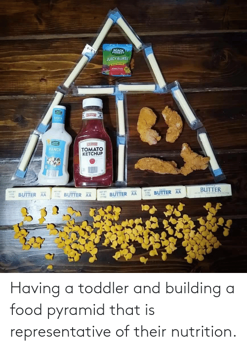 Food: Having a toddler and building a food pyramid that is representative of their nutrition.