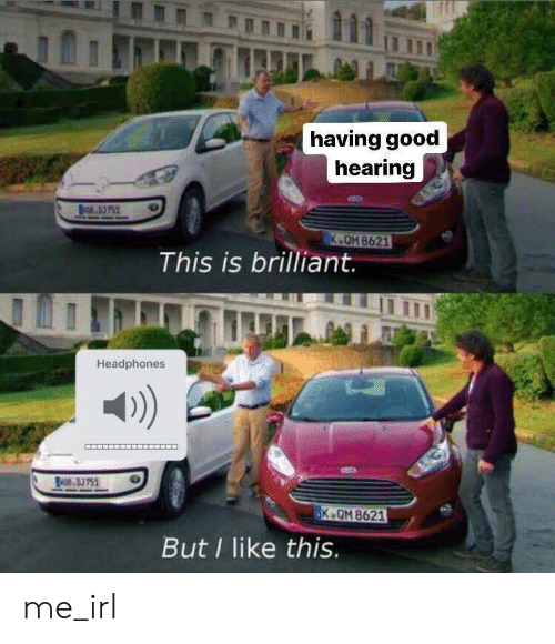 Brilliant: having good  hearing  NO.D3751  K OM 8621  This is brilliant.  Headphones  NOB 83751  K.QM 8621  But I like this. me_irl