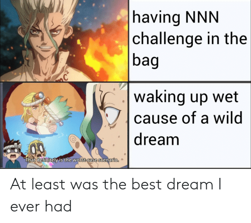 Anime, Definitely, and The Worst: having NNN  challenge in the  bag  C  waking up wet  cause of a wild  dream  That definitely is the worst-case scenario. At least was the best dream I ever had