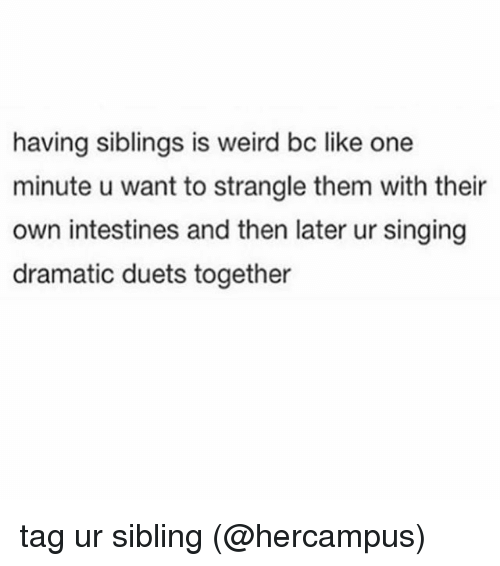 duets: having siblings is weird bc like one  minute u want to strangle them with their  own intestines and then later ur singing  dramatic duets together tag ur sibling (@hercampus)