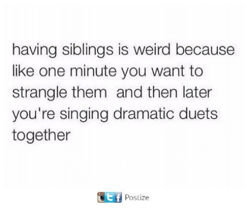 duets: having siblings is weird because  like one minute you want to  strangle them and then later  you're singing dramatic duets  together  ef  Postize