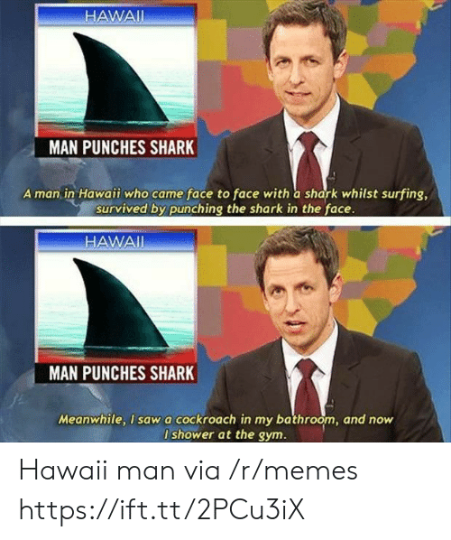 punches: HAWAII  MAN PUNCHES SHARK  A man in Hawaii who came face to face with a shark whilst surfing,  survived by punching the shark in the face.  HAWAI  MAN  PUNCHES SHARK  Meanwhile, I sawa cockroach in my bathroom, and now  I shower at the gym. Hawaii man via /r/memes https://ift.tt/2PCu3iX