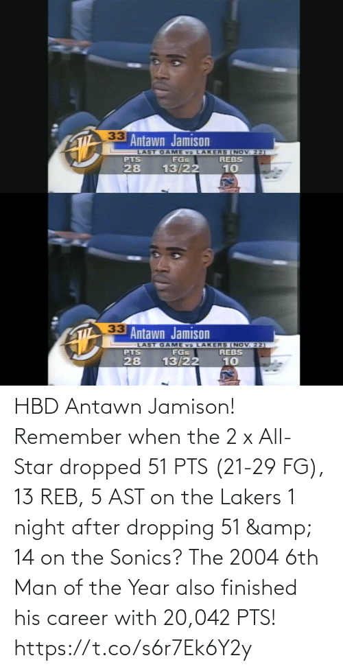 remember: HBD Antawn Jamison! Remember when the 2 x All-Star dropped 51 PTS (21-29 FG), 13 REB, 5 AST on the Lakers 1 night after dropping 51 & 14 on the Sonics?  The 2004 6th Man of the Year also finished his career with 20,042 PTS! https://t.co/s6r7Ek6Y2y