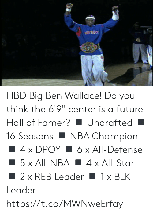 """All Star, Future, and Memes: HBD Big Ben Wallace!  Do you think the 6'9"""" center is a future Hall of Famer?  ◾️ Undrafted ◾️ 16 Seasons ◾️ NBA Champion ◾️ 4 x DPOY  ◾️ 6 x All-Defense  ◾️ 5 x All-NBA ◾️ 4 x All-Star ◾️ 2 x REB Leader ◾️ 1 x BLK Leader  https://t.co/MWNweErfay"""
