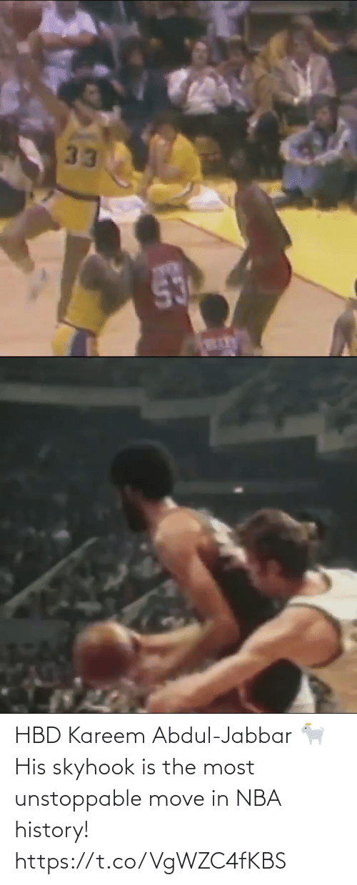 NBA: HBD Kareem Abdul-Jabbar 🐐 His skyhook is the most unstoppable move in NBA history! https://t.co/VgWZC4fKBS