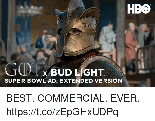 Football, Hbo, and Nfl: HBO  GIT  SUPER BOWL AD: EXTENDED VERSION  x BUD LIGHT. BEST. COMMERCIAL.  EVER. https://t.co/zEpGHxUDPq