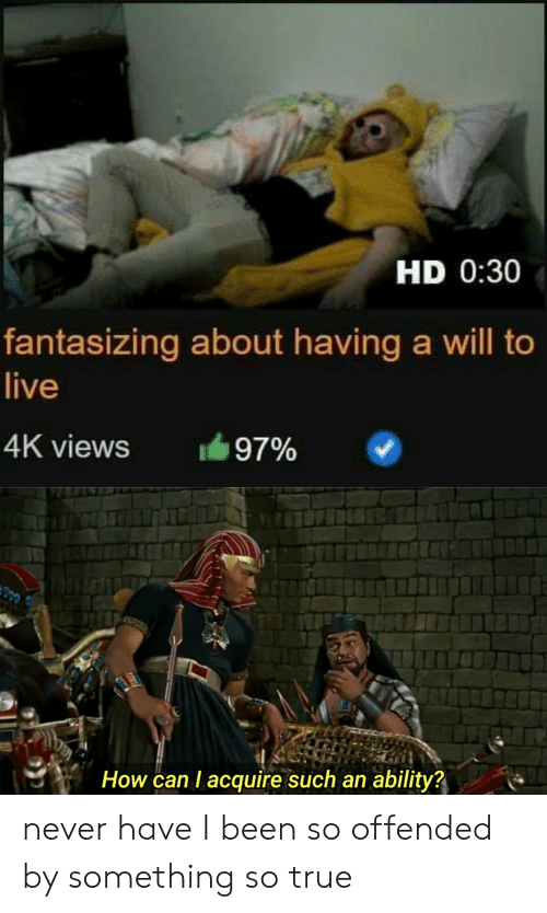 Reddit, True, and Live: HD 0:30  fantasizing about having a will to  live  4K views  97%  How can I acquire such an ability? never have I been so offended by something so true