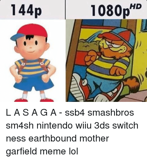 Sm4Sh: HD  144p  1080p L A S A G A - ssb4 smashbros sm4sh nintendo wiiu 3ds switch ness earthbound mother garfield meme lol