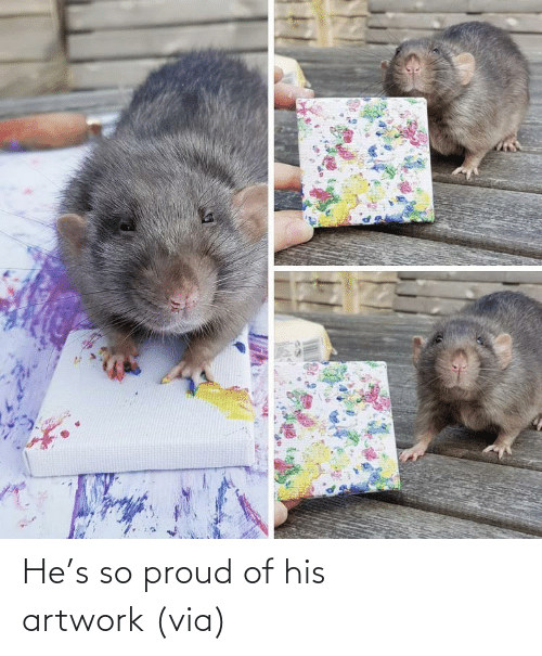 Of His: He's so proud of his artwork (via)