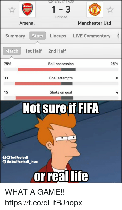 Arsenal, Fifa, and Life: HE  1-3  Finished  Arsenal  Manchester Utd  Summary  Stats  Lineups LIVE Commentary  Match  1st Half  2nd Half  75%  Ball possession  25%  Goal attempts  15  Shots on goal  4  Not sure if FIFA  TrollFootball  TheTroll FootballInsta  -  or real life WHAT A GAME!! https://t.co/dLitBJnopx