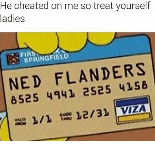 Ned Flanders: He cheated on me so treat yourself  ladies  SPRINGFIELD  NED FLANDERS  8525 4941 12/31 VIZA