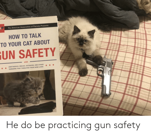 practicing: He do be practicing gun safety