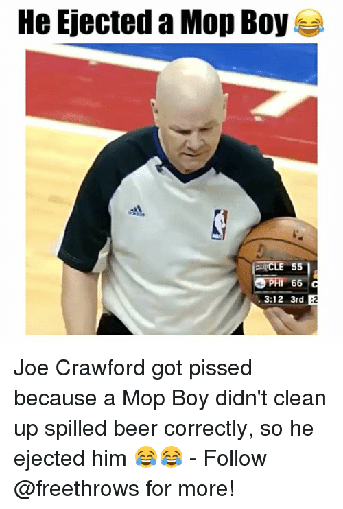 ejection: He Ejected a Mop Boy  PHI 66  3:12 3rd B2 Joe Crawford got pissed because a Mop Boy didn't clean up spilled beer correctly, so he ejected him 😂😂 - Follow @freethrows for more!