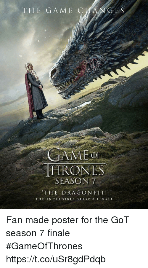 posterized: HE GAME CC  E S  OF  HRONES  SEASON7  THE DRAG ONPIT  THE INCREDIBLE SEAS ON FINALE Fan made poster for the GoT season 7 finale #GameOfThrones https://t.co/uSr8gdPdqb