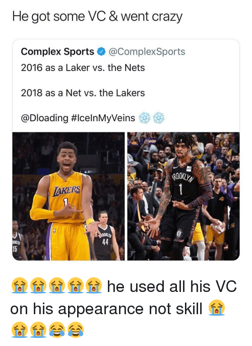 eff: He got some VC & went crazy  Complex Sports @ComplexSports  2016 as a Laker vs. the Nets  2018 as a Net vs. the Lakers  @Dloading #celnMyVeins eff  AKERS  15 😭😭😭😭😭 he used all his VC on his appearance not skill 😭😭😭😂😂