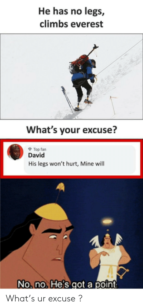 Has No: He has no legs,  climbs everest  What's your excuse?  O Top fan  David  His legs won't hurt, Mine will  No, no. He's got a point What's ur excuse ?