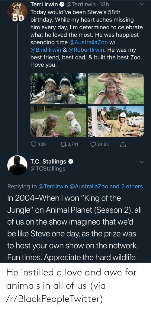 blackpeopletwitter: He instilled a love and awe for animals in all of us (via /r/BlackPeopleTwitter)