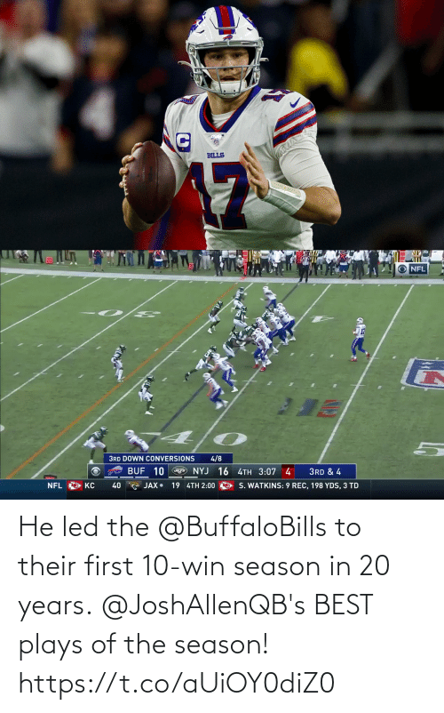 led: He led the @BuffaloBills to their first 10-win season in 20 years.  @JoshAllenQB's BEST plays of the season! https://t.co/aUiOY0diZ0