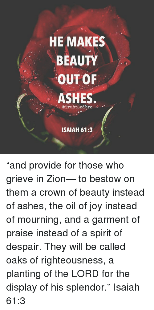 "bestowed: HE MAKES  BEAUTY  OUT OF  ASHES  @TrustGod bro  ISAIAH 61:3 ""and provide for those who grieve in Zion— to bestow on them a crown of beauty instead of ashes, the oil of joy instead of mourning, and a garment of praise instead of a spirit of despair. They will be called oaks of righteousness, a planting of the LORD for the display of his splendor."" ‭‭Isaiah‬ ‭61:3‬"