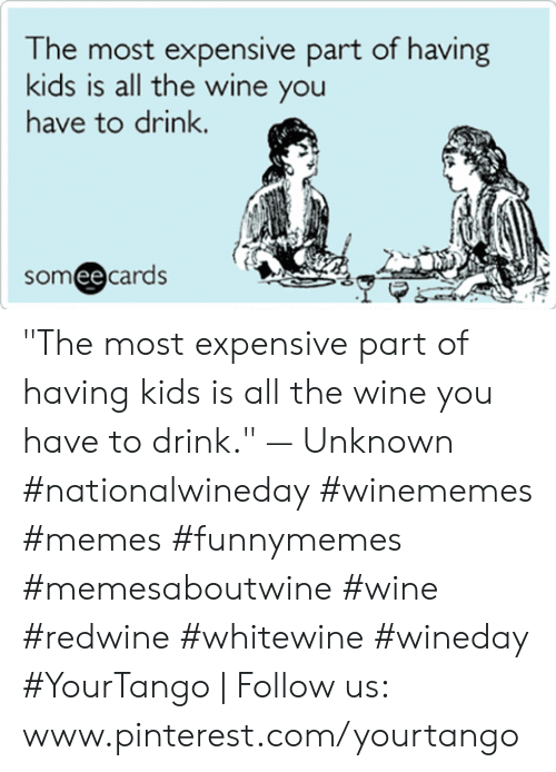 "pinterest.com: he most expensive part of having  kids is all the wine you  have to drink.  someecards ""The most expensive part of having kids is all the wine you have to drink."" — Unknown #nationalwineday #winememes #memes #funnymemes #memesaboutwine #wine #redwine #whitewine #wineday #YourTango 