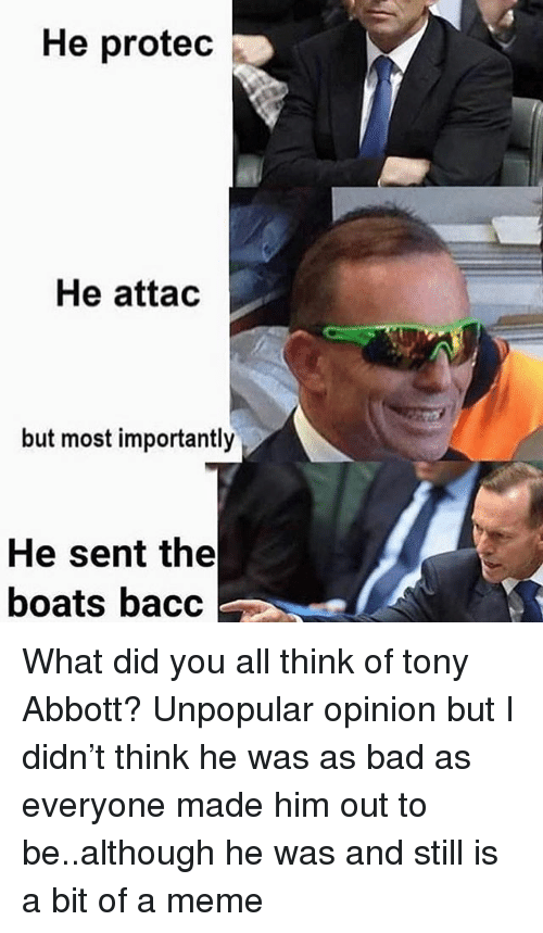 abbott: He protec  He attac  but most importantly  He sent the  boats bacc What did you all think of tony Abbott? Unpopular opinion but I didn't think he was as bad as everyone made him out to be..although he was and still is a bit of a meme