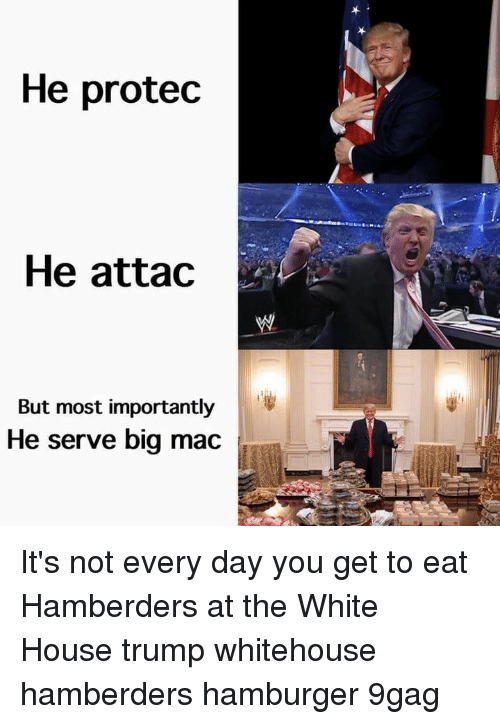 9gag, Memes, and White House: He protec  He attac  But most importantly  He serve big mac It's not every day you get to eat Hamberders at the White House⠀ trump whitehouse hamberders hamburger 9gag