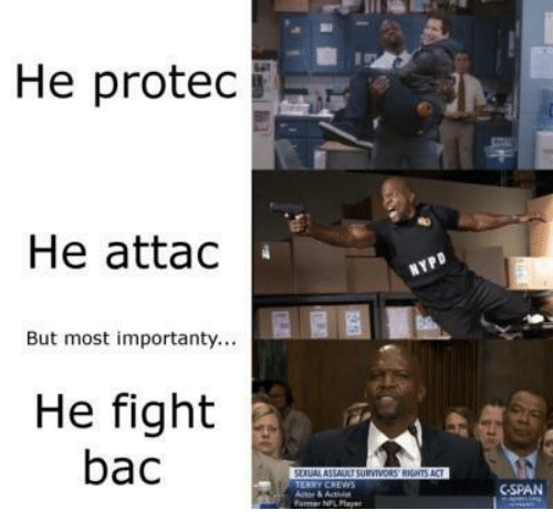 cspan: He protec  He attac  But most importanty...  He fight  bac  CSPAN  ormer NPL Pla