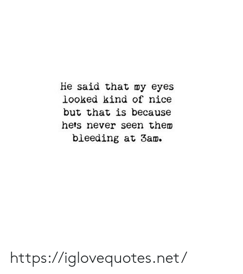 Never, Nice, and Net: He said that my eyes  looked kind of nice  but that is because  hers never seen them  bleeding at 3am. https://iglovequotes.net/