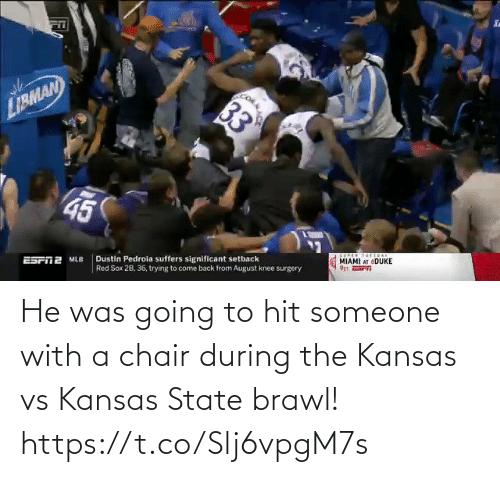 Chair: He was going to hit someone with a chair during the Kansas vs Kansas State brawl!  https://t.co/Slj6vpgM7s